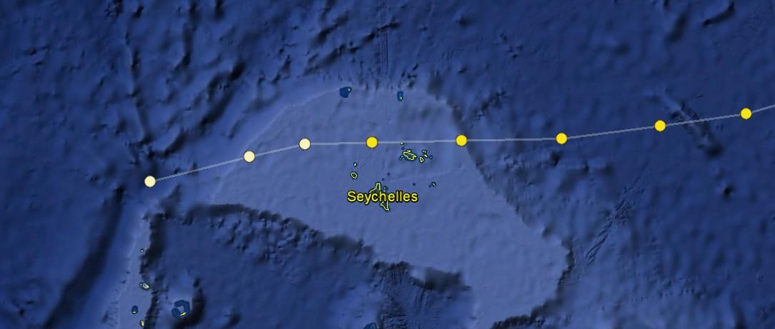 Trajectoire de la TTM 01S sur les Seychelles