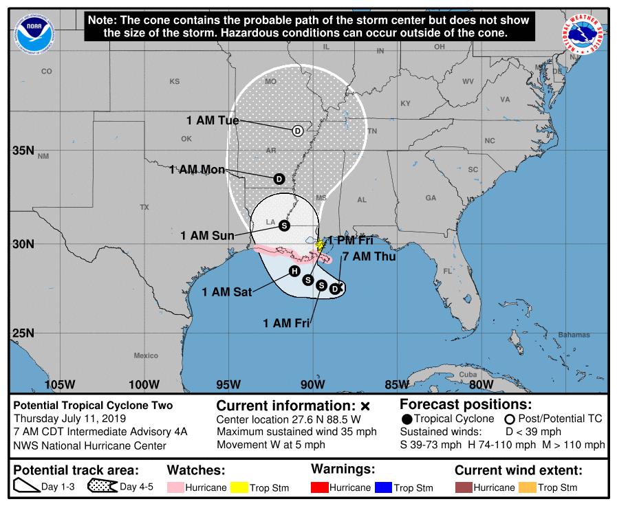 prevision trajectoire et intensité future tempête barry