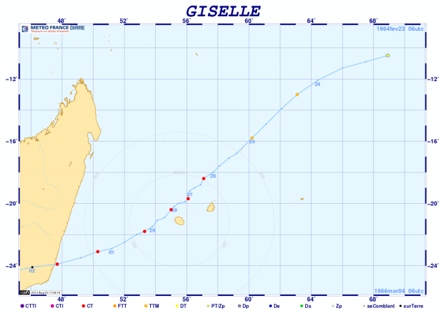 Trajectoire cyclone GISELLE