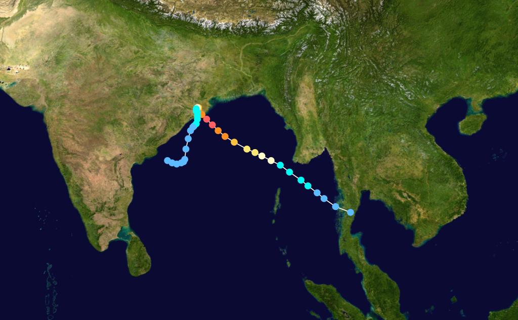 Trajectoire du Cyclone 05B