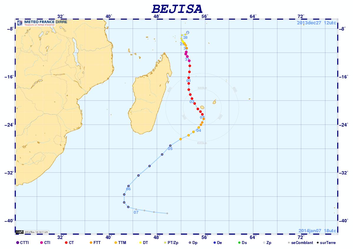Trajectoire cyclone BEJISA