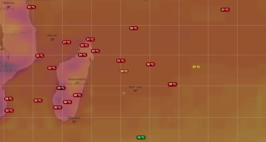 Carte des températures dans le sud-ouest de l'océan indien (WINDY)