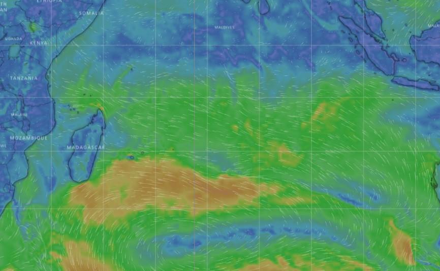 Carte de flux de surface du modèle déterministe IFS modélisé par l'application WINDY