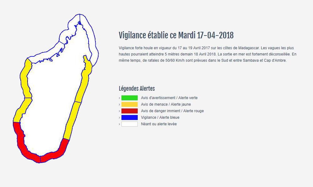 Bulletin de vigilance forte houle à Madagascar ©Météo Madagascar