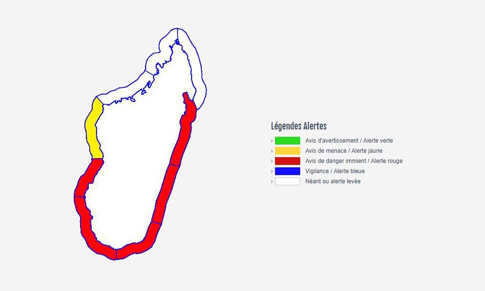 Carte vigilance forte houle ©Météo Madagascar