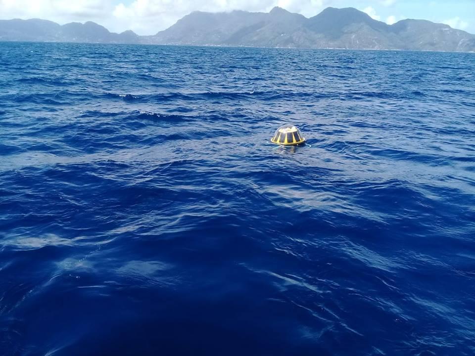 Bouée déployée au nord ouest de Mahé aux Seychelles