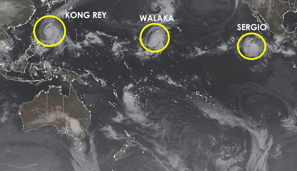 Super Typhon KO?G REY, Ouragan WALAKA et Ouragan SERGIO ©Real Earth