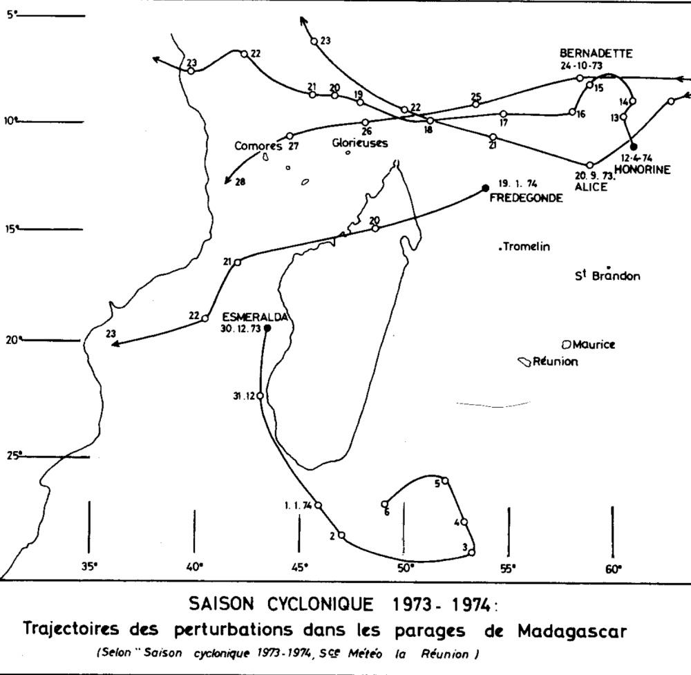 Trajectoire saison cyclonique 1973/1974