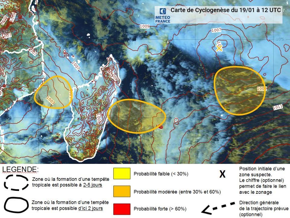 risque de cyclogenèse dans l'océan indien