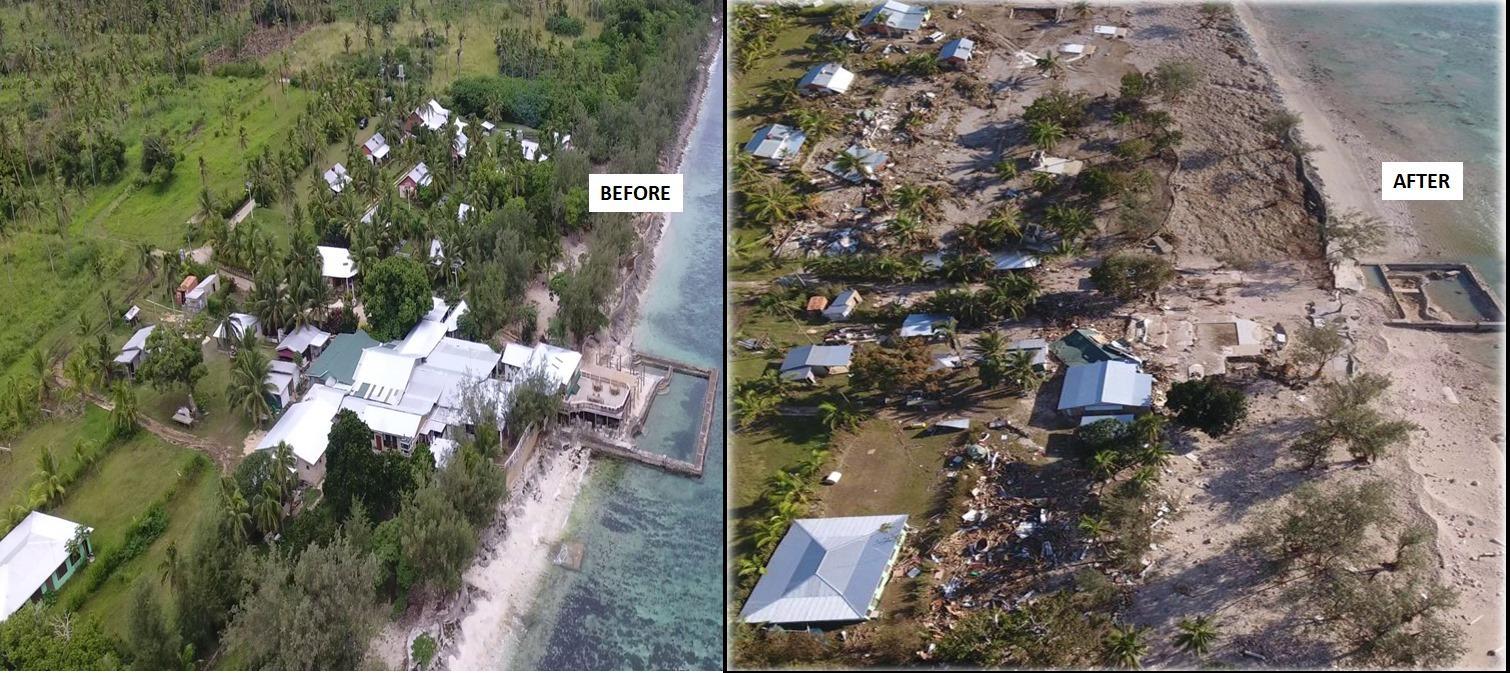 Hotel détruit au Tonga par le cyclone Harold