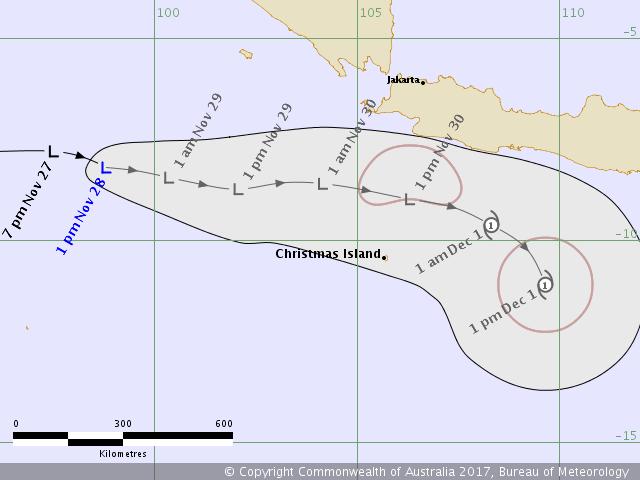 Prévision d'intensité et trajectoire de 96s selon Perth (BOM)