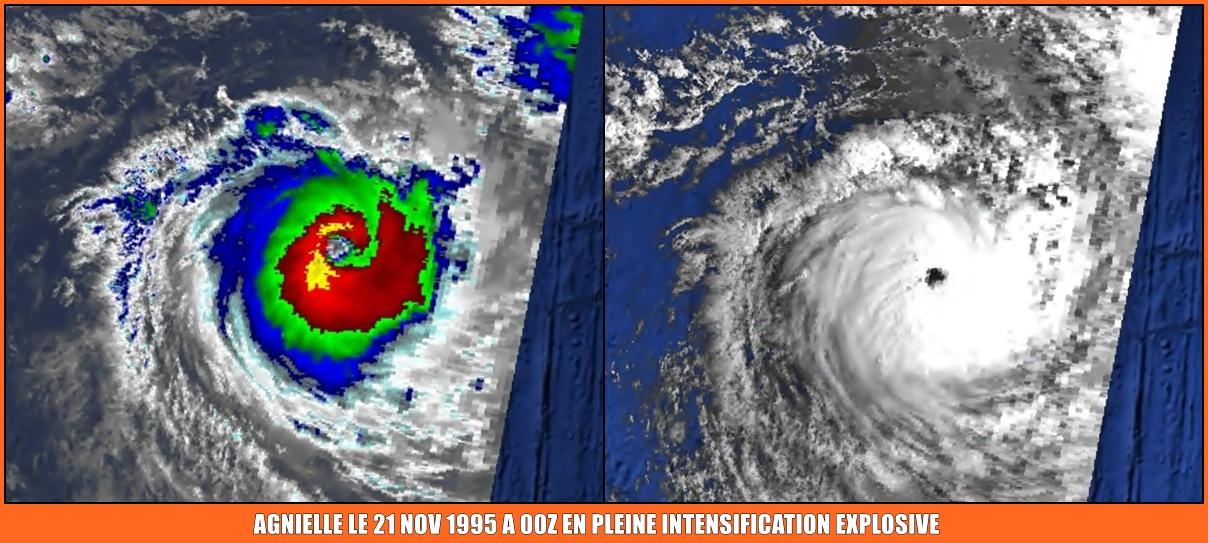 Agnielle le 21 nov 1995 à 00z en peine intensification explosive (NOAA)