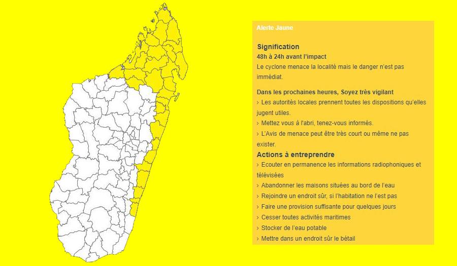 Alerte cyclonique jaune en cours à Madagascar