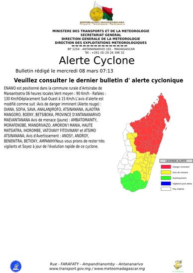 Carte des alertes en cours en ce 08/03/2017 (Météo Madagascar)