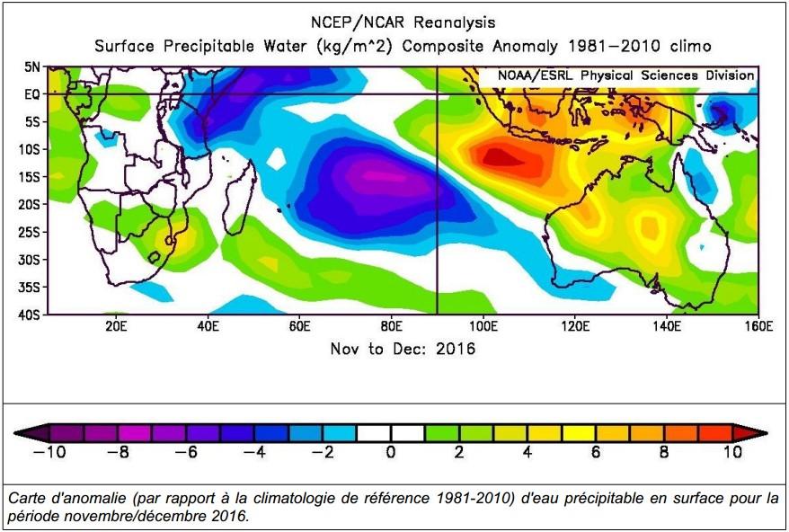 Carte d'anomalie d'eau précipitable pour la période novembre/décembre 2016 (Météo France)
