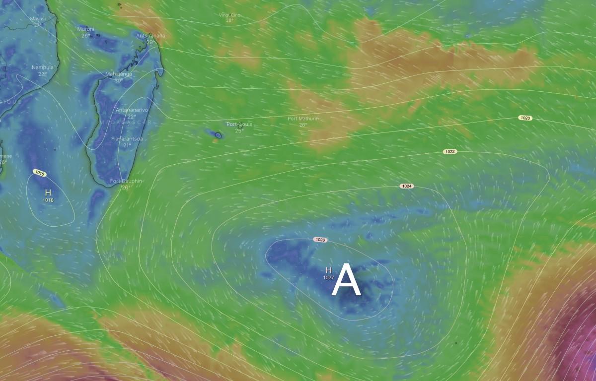 Anticyclone ocean indien