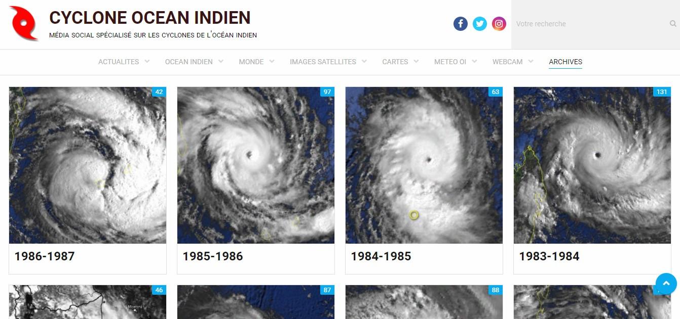 Archive photos des cyclones de l'océan indien sud-ouest