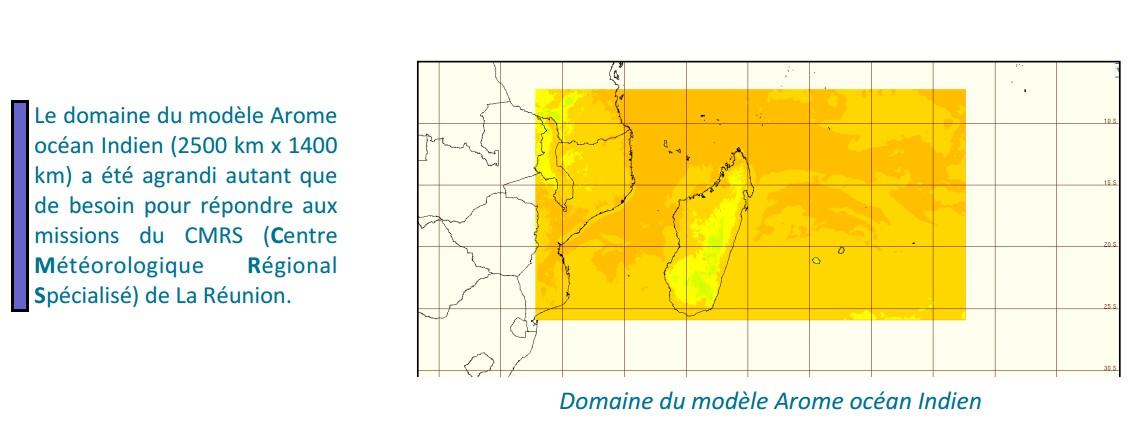 Domaine du modèle AROME océan indien (Météo France)