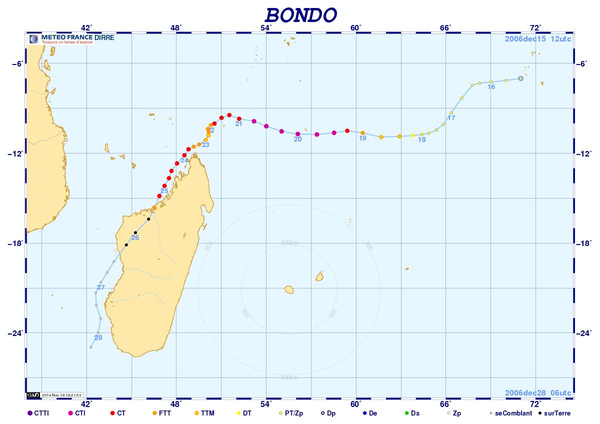 Trajectoire cyclone Bondo (Météo France)