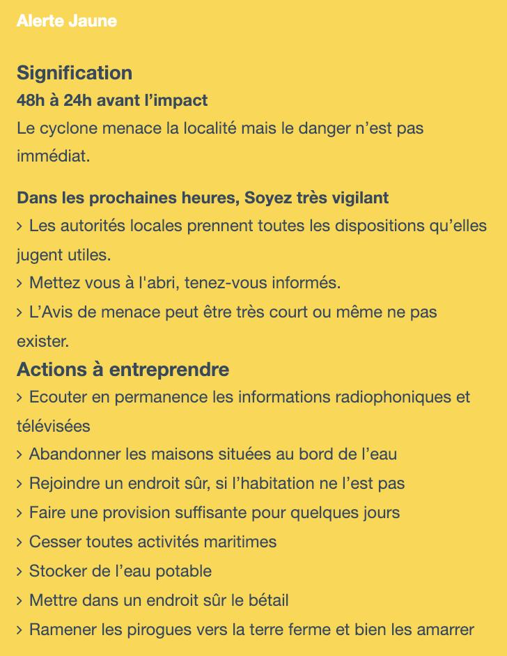 Alerte cyclone JAUNE Madagascar