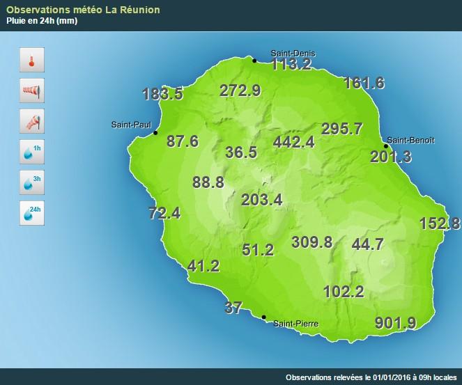 Cumul des pluies sur 24h au 1er Janvier 2016 à 9h