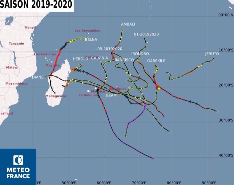Carte saison cyclonique 2019 2020