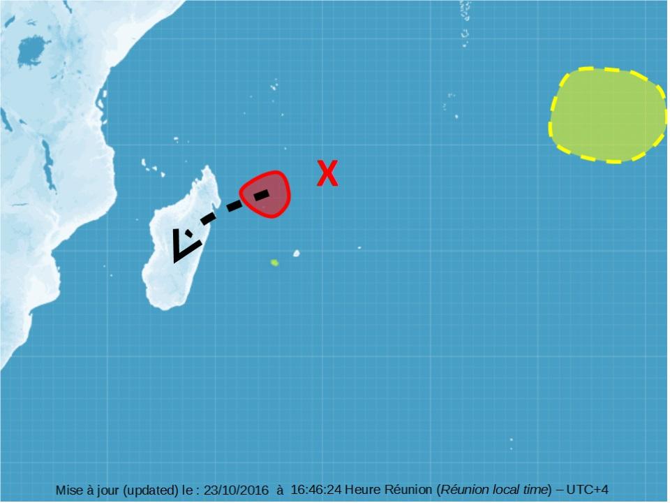 Exemple de cartographie du risque de cyclogenèses avec deux zones suspectes présentes (Météo France)