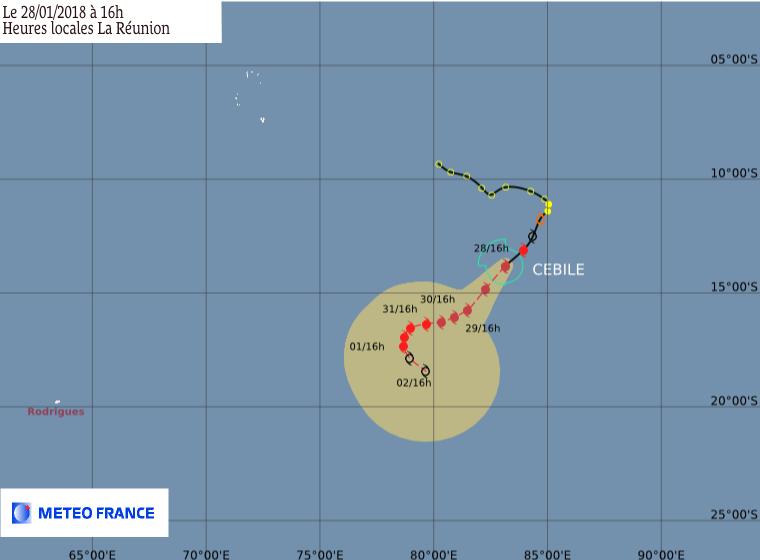 Prévisions de trajectoire et intensité du cyclone tropical intense CEBILE ce 28/01/2018 à 12z (MétéoFrance)