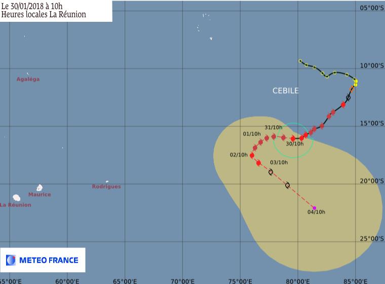 Prévision trajectoire et intensité du cyclone CEBILE ce 30/01/2018 à 6z (CMRS de la Réunion)