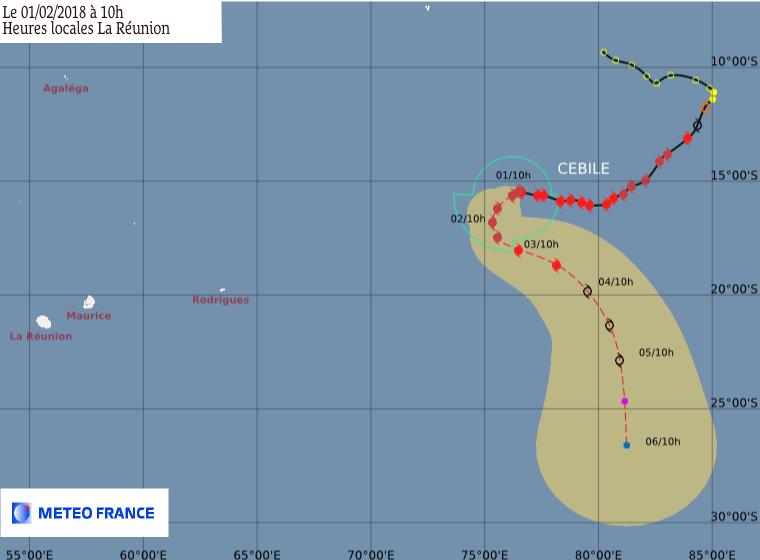 Prévision de trajectoire et intensité de Météo France ce 01/02/2018 à 6z