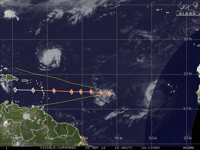 Prévision trajectoire et intensité ouragan ISAAC ©CIMSS