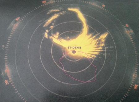 Oeil de CLOTILDA capté par le radar (Météo France)