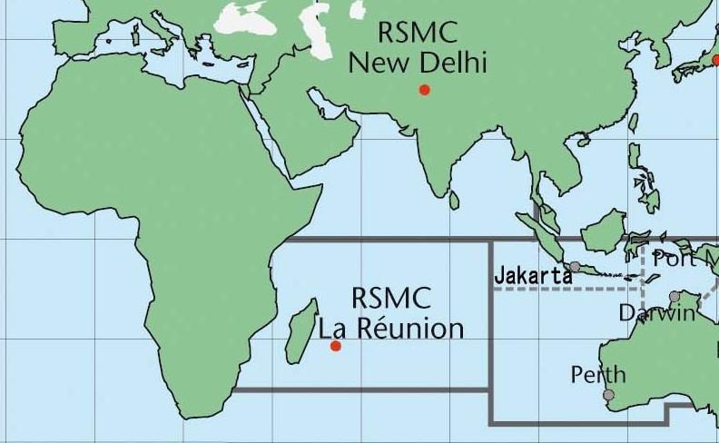 Subdivision de l'océan indien et centres météorologiques officiellement chargés du suivi cyclonique (OMM)