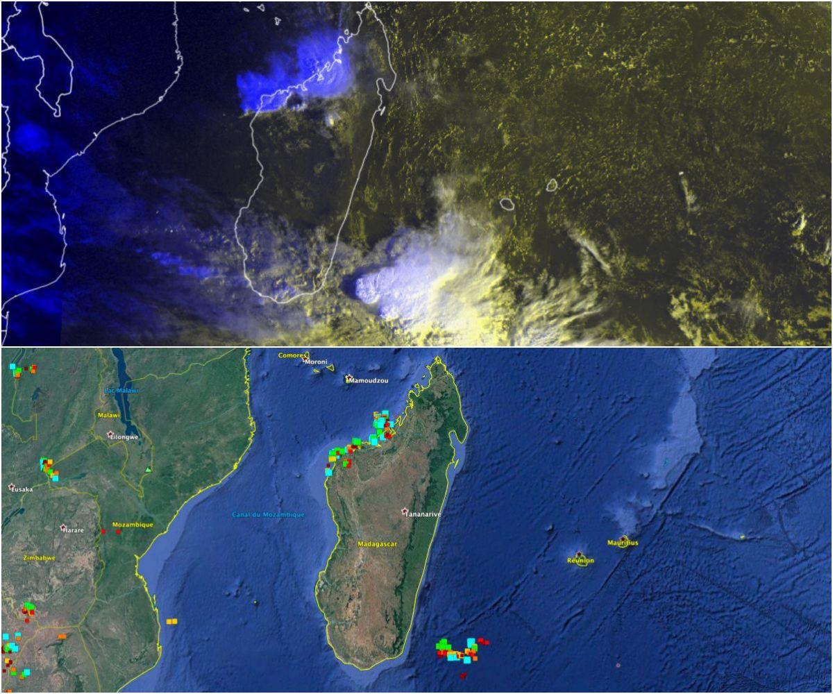 puissant orage ocean indien