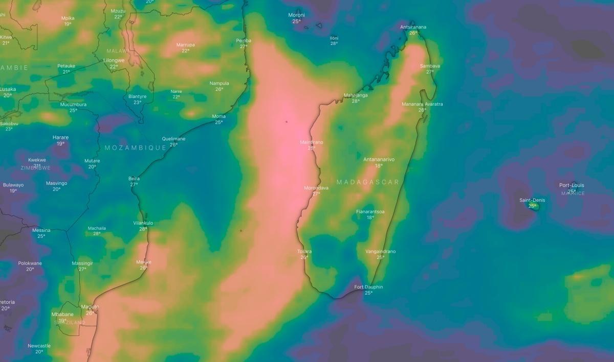 Cumul pluie 5 jours canal mozambique