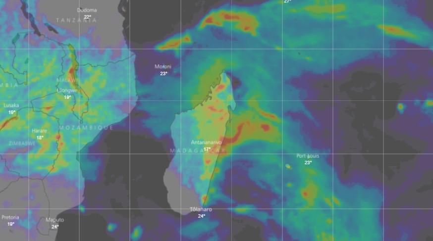Cumuls pluvieux à Madagascar des prochaines 72h simulé par le modèle IFS (WINDY)