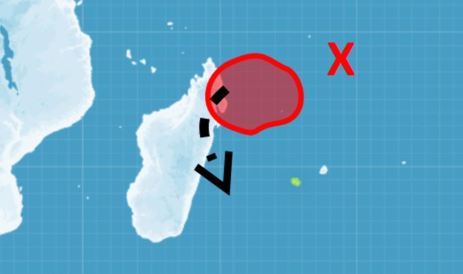 Zone suspecte au nord des Mascareignes 13/03/2018 ©CMRS de la Réunion
