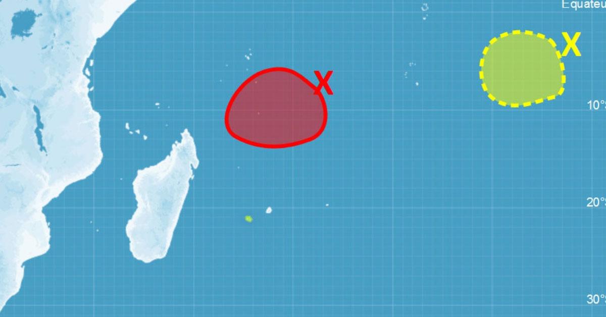 Risque de cyclogenèse important au nord de la Réunion et Maurice