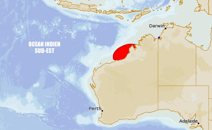 Risque de cyclogenèse à l'ouest de l'Australie