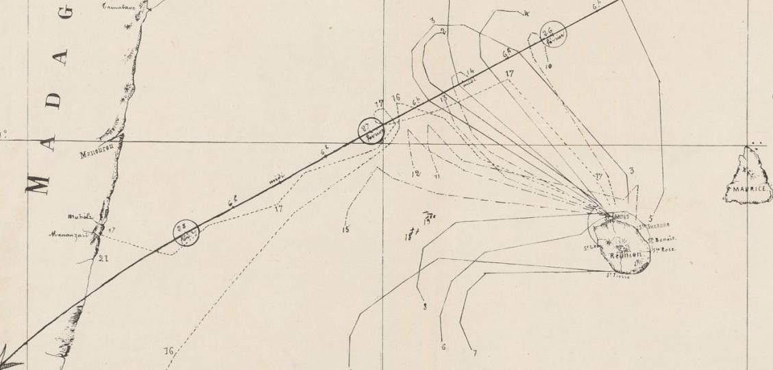 Carte détaillant le mouvement des différents navires entre le 25 et 28 février 1860 par H. Bridet (gallica.bnf.fr)