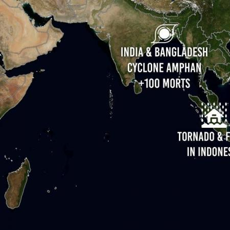 Cyclone amphan tornado and flood in indonesia