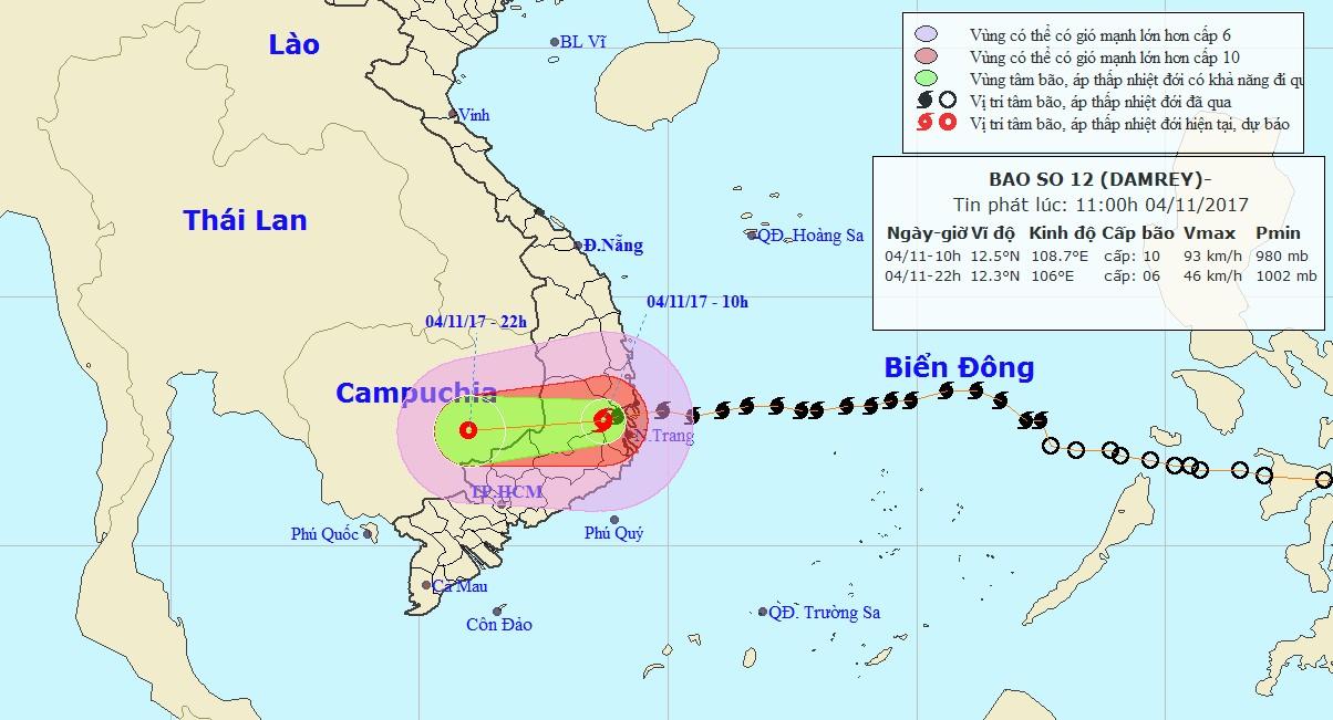 Carte de trajectoire du typhon DAMREY (NCHMF)