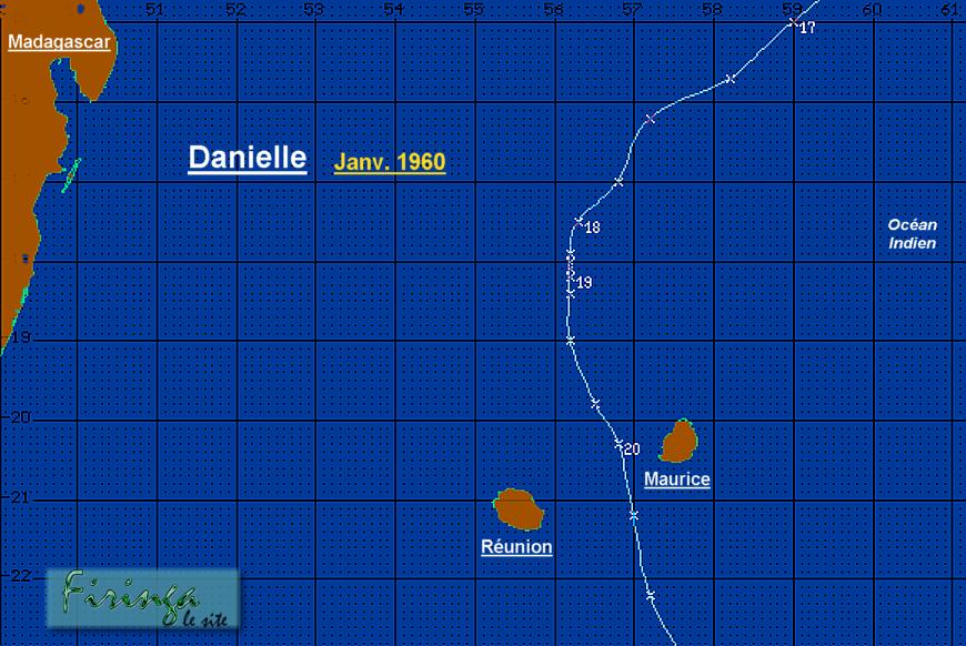 Trajectoire cyclone Danielle (1964)