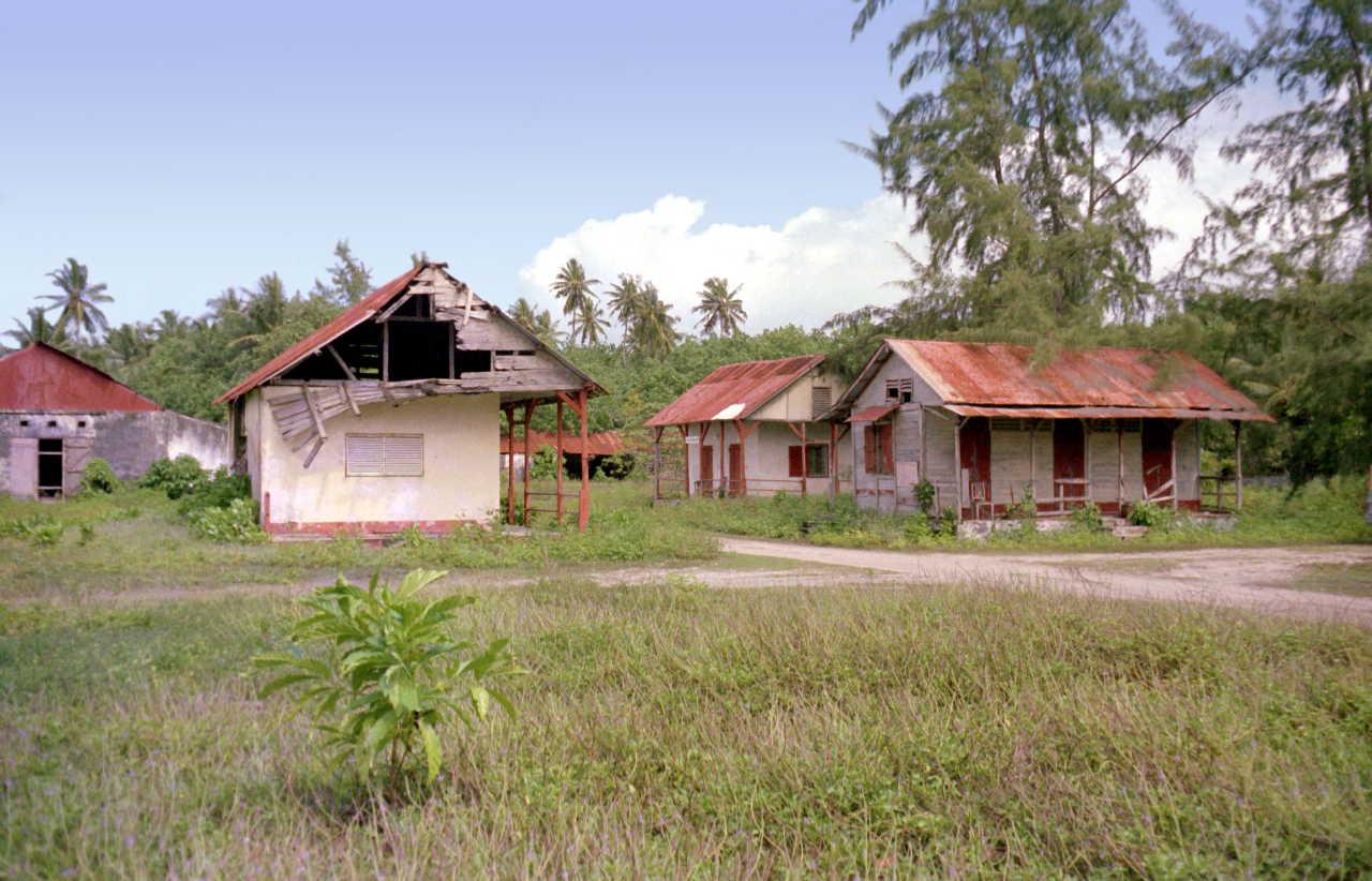 Maisons abandonnées sur Diego Garcia
