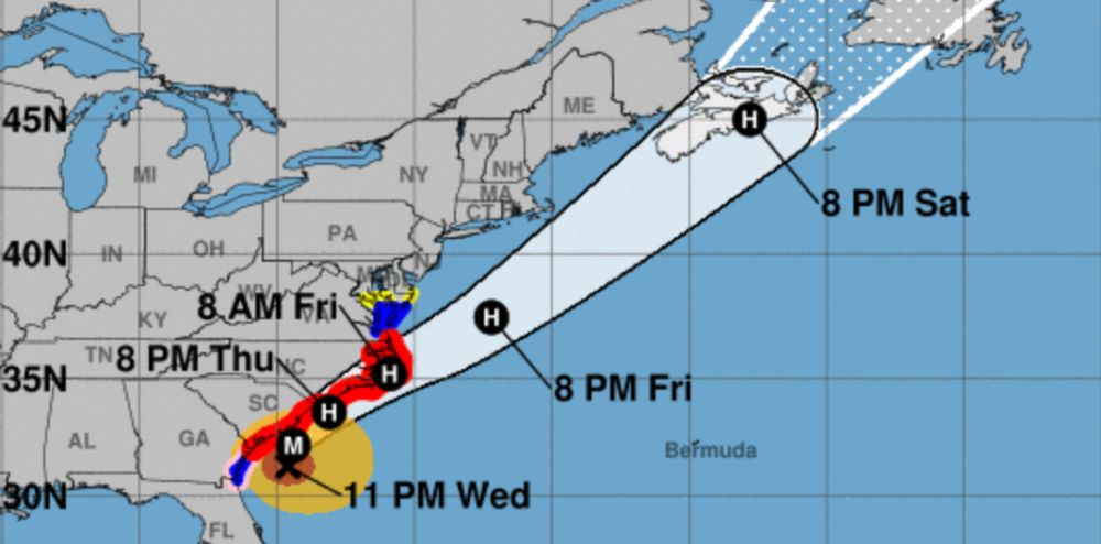 Dorian track forecast