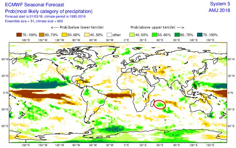 Anomalie précipitation période avril 2018 ©ecmwf