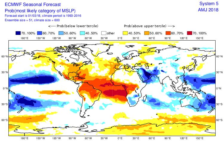 Anomalie champ de pression période avril 2018 ©ecmwf