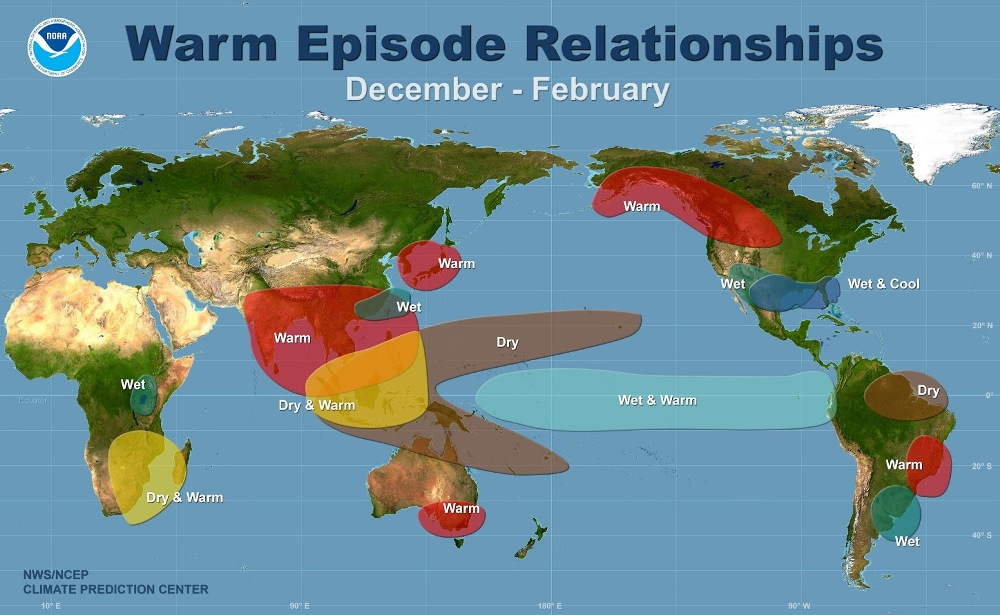 Impact du phénomène El Nino sur le climat mondial ©NOAA