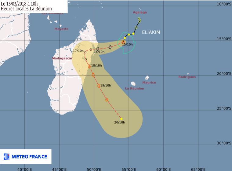 Eliakim : prévision trajectoire et intensité du CMRS de la Réunion