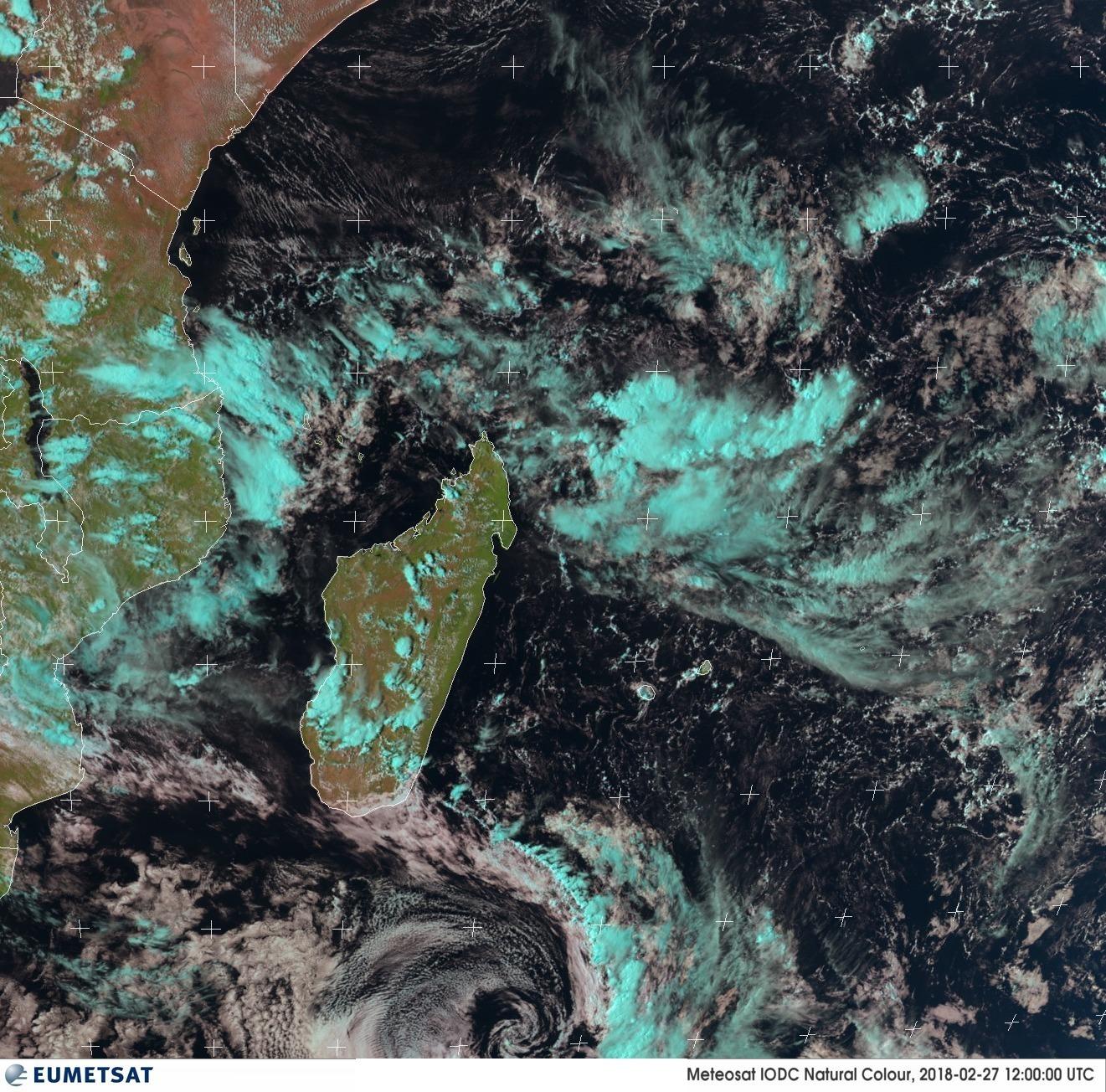 Image du sud-ouest de l'océan indien du 27/02/2018 à 12z ©eumetsat